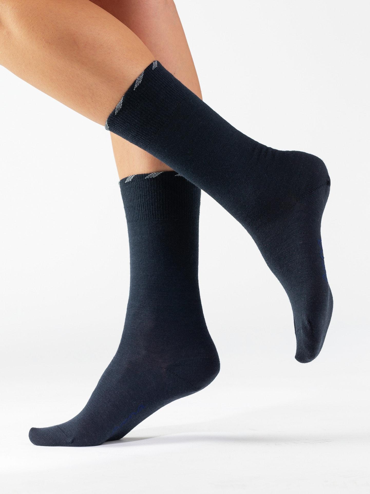 Avena Herren Lambswool-Socke antibakt. 2 Paar Blau 21-5087-9
