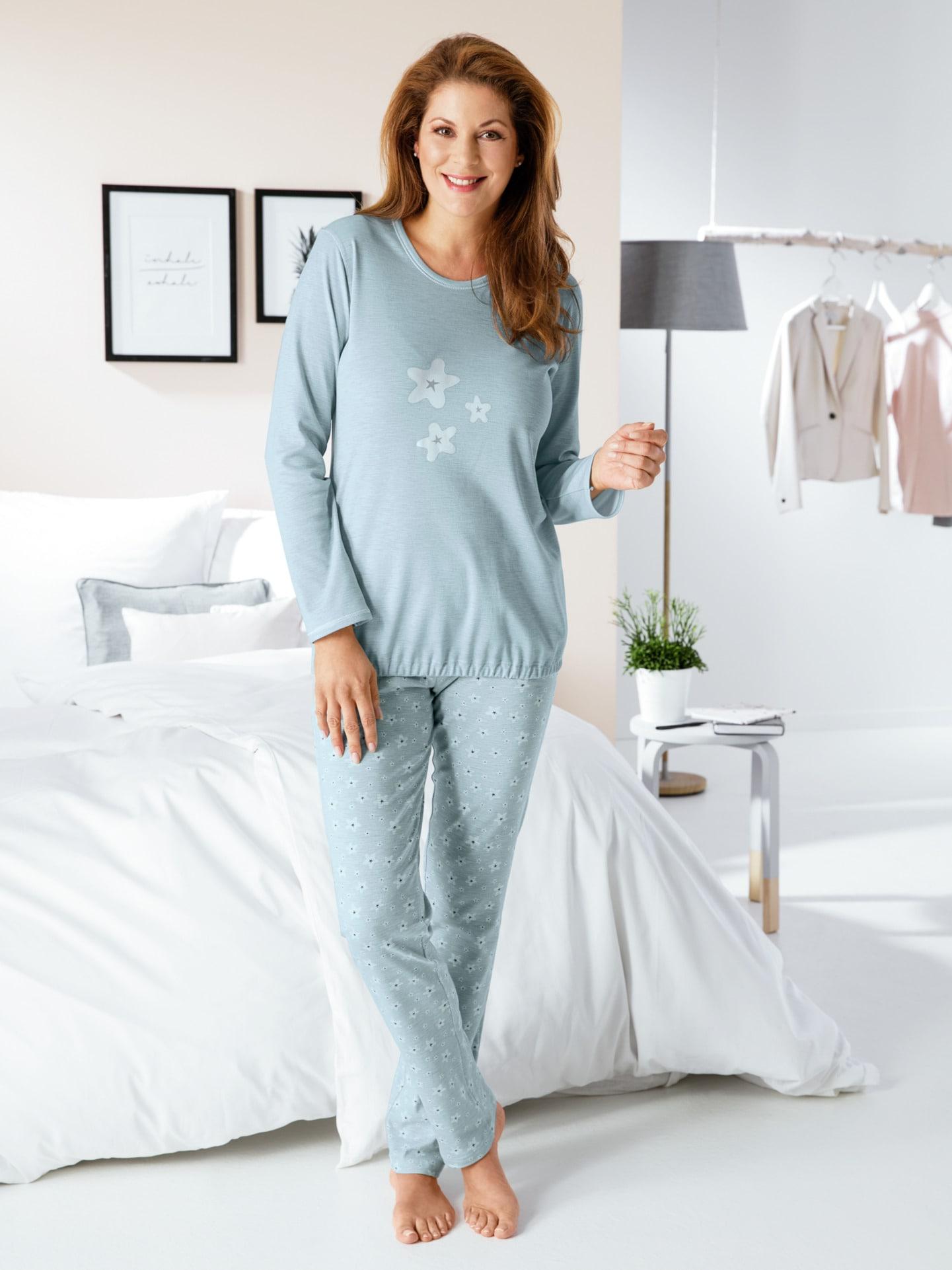 Avena Damen Pyjama Grün geblümt 42-3900-6_MV8880