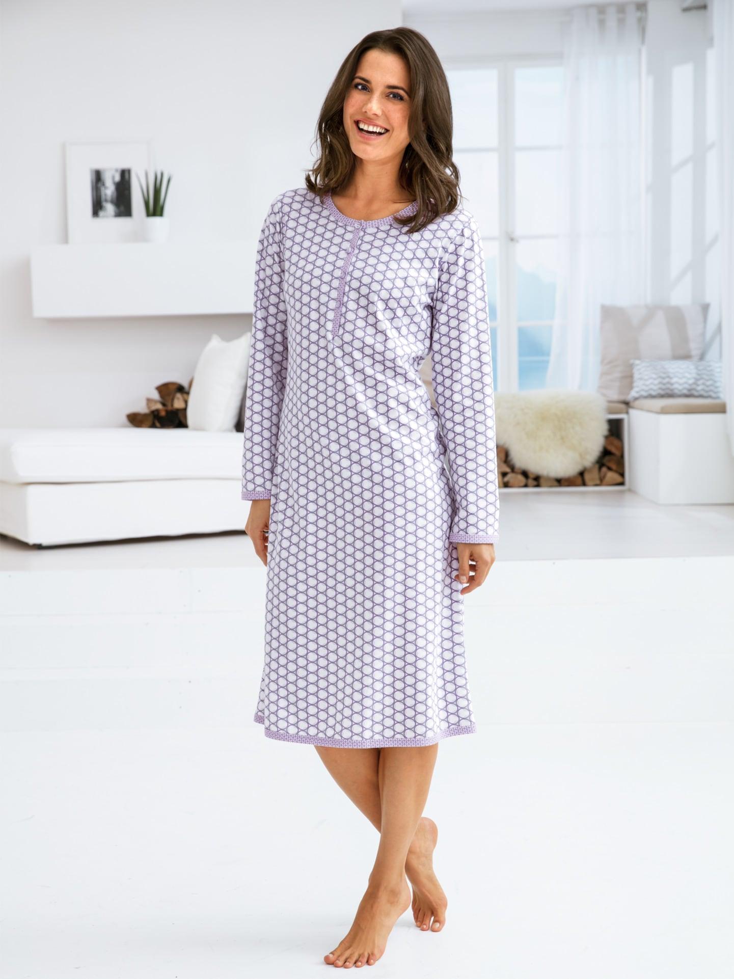 Avena Damen Soft-Baumwoll-Nachthemd Mosaik Weiß 42-3903-7
