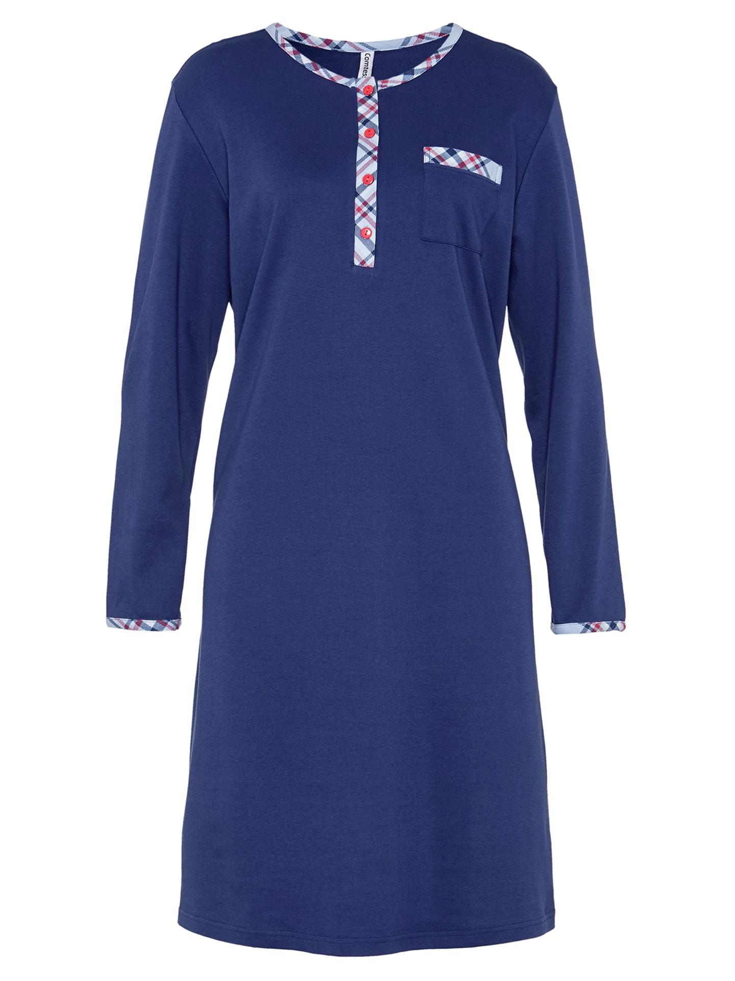 Avena Damen Baumwoll-Nachthemd Wintersoft Blau 42-5893-9