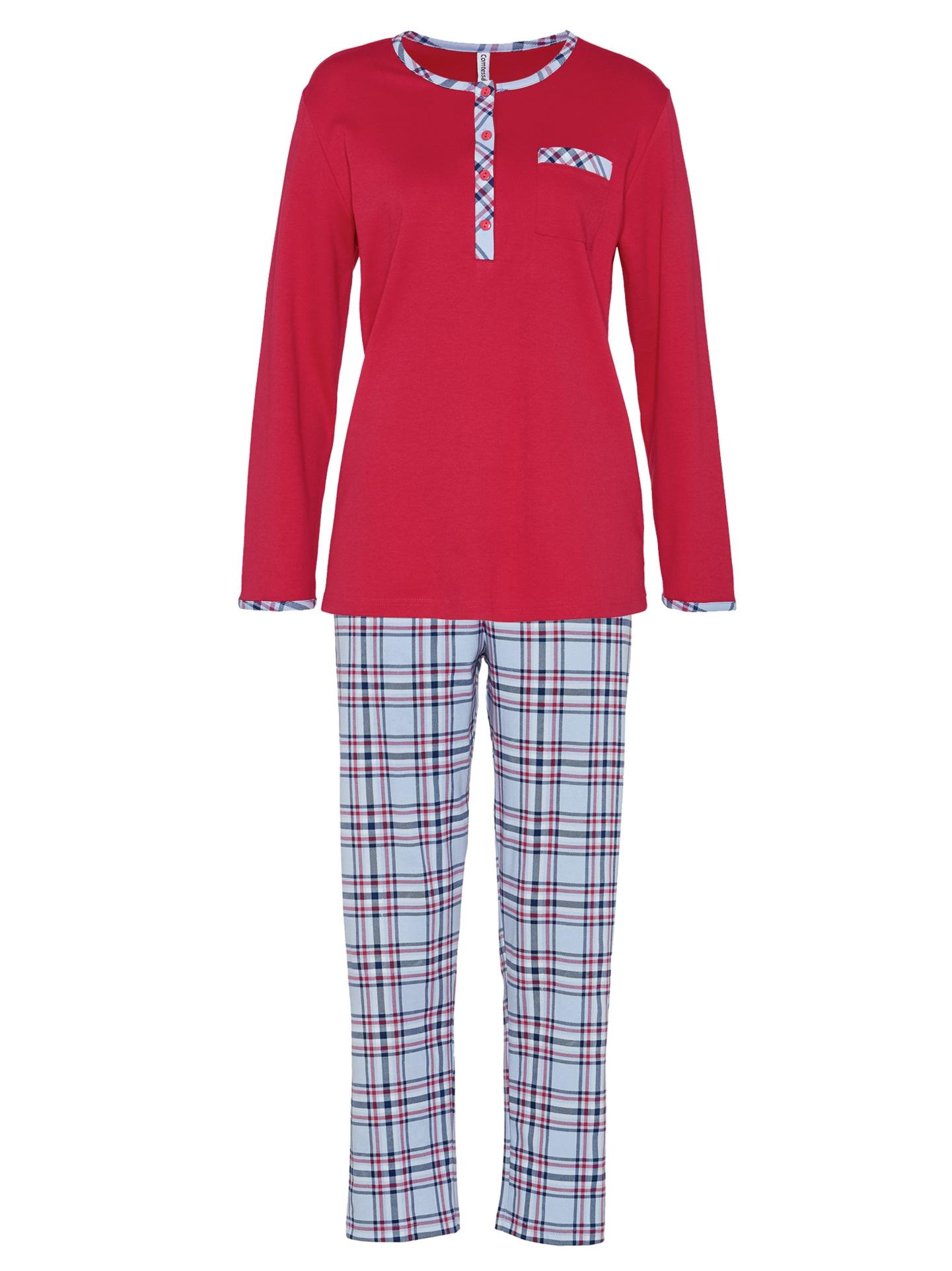Avena Damen Pyjama Rot einfarbig 42-5894-6_MV8880