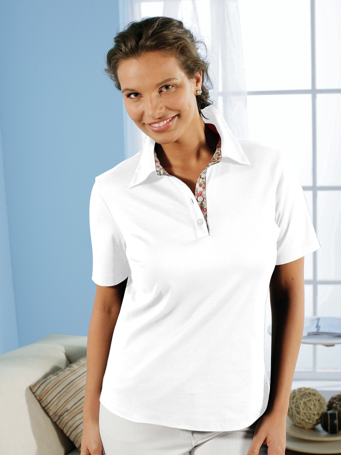 Avena Damen Poloshirt Weiß einfarbig