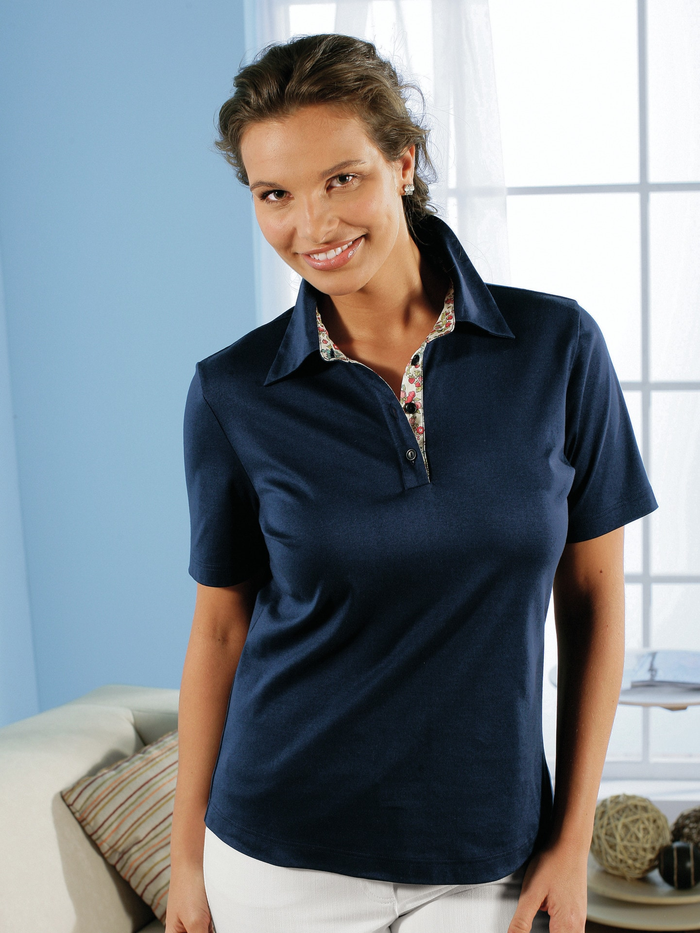 Avena Damen Poloshirt Blau einfarbig