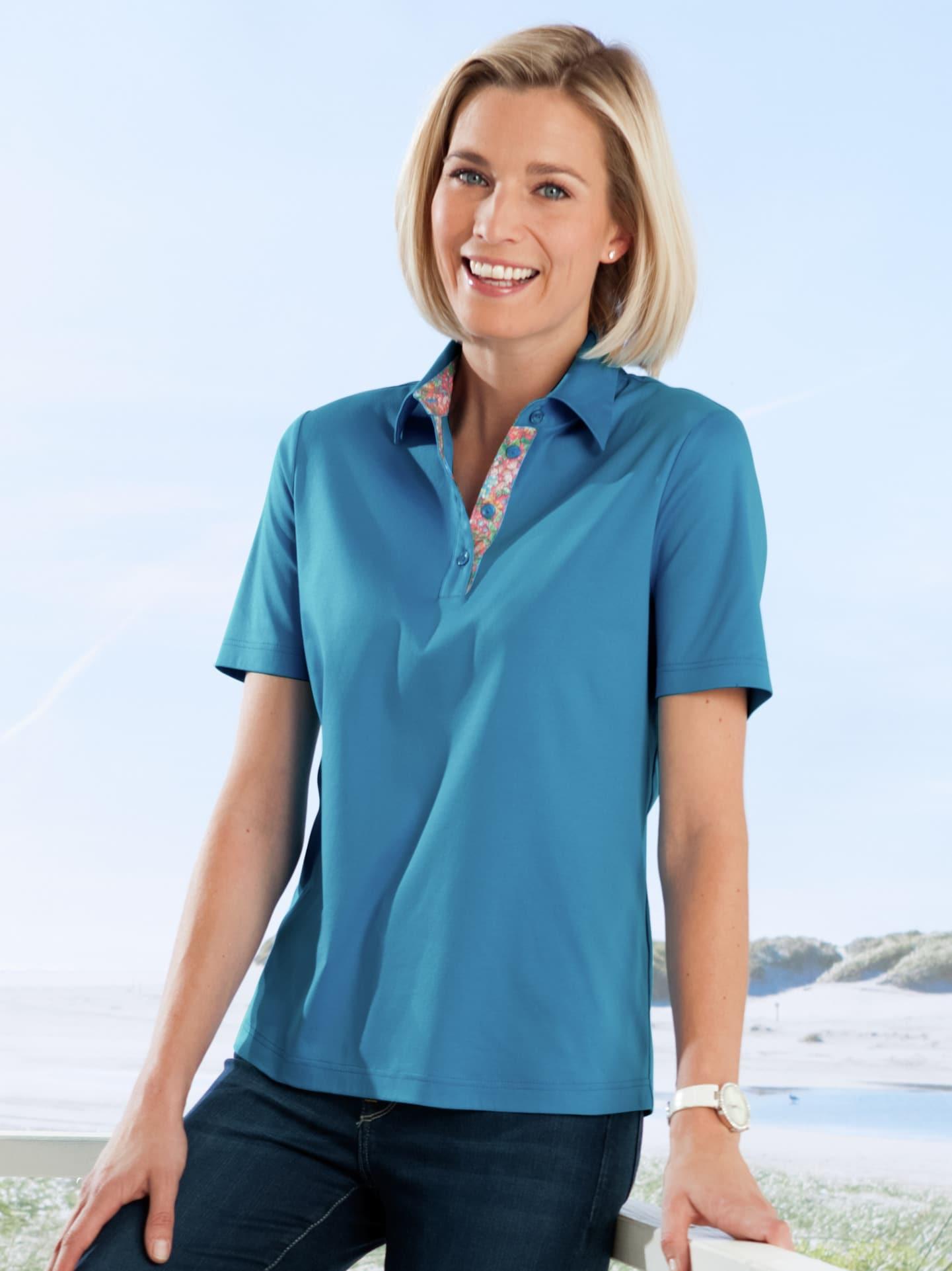 Avena Damen Aloe vera-Polo-Shirt Blau 42-6014-7