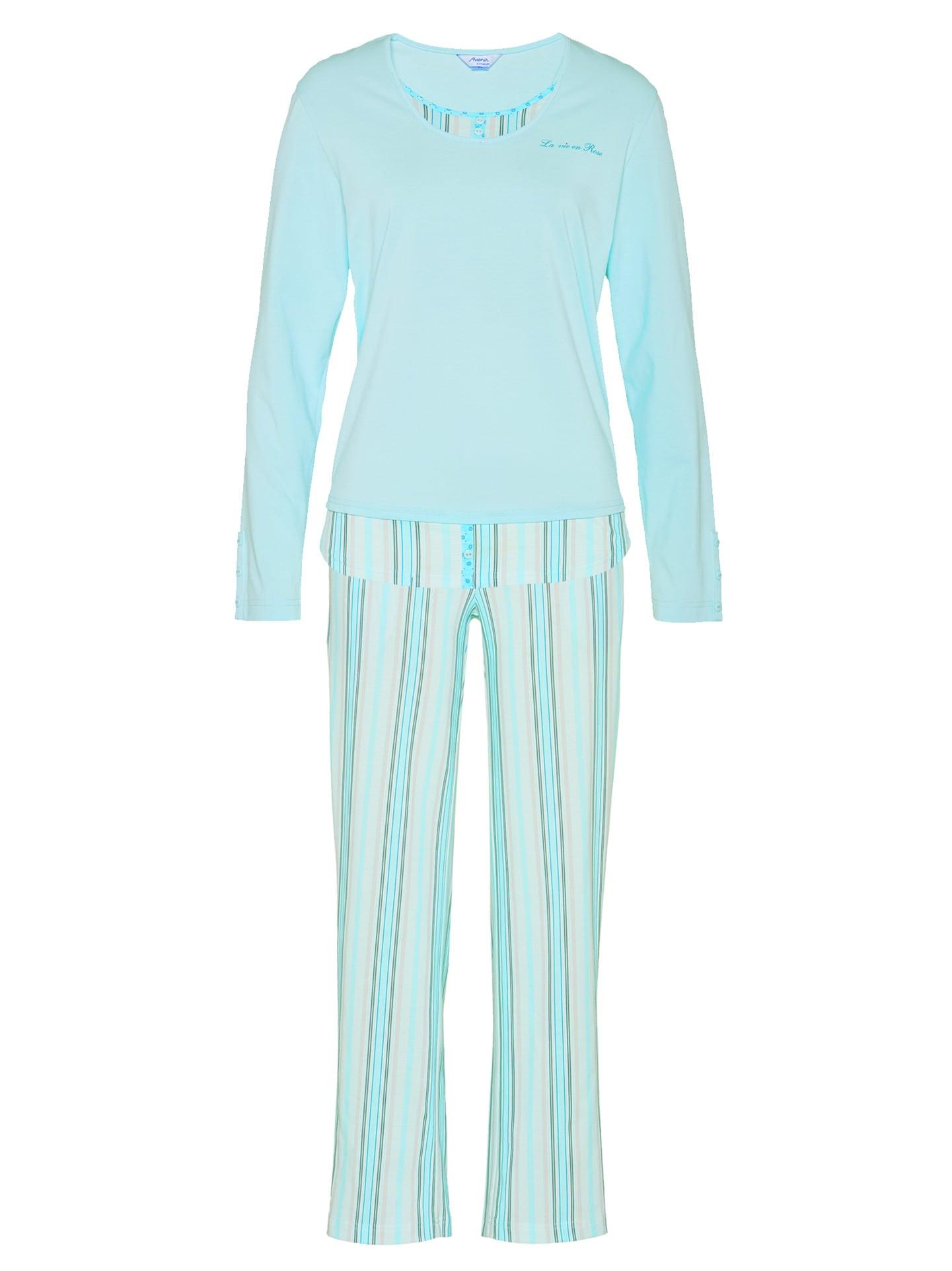 Avena Damen Pyjama Hellblau gestreift 42-6058-1_MV8880