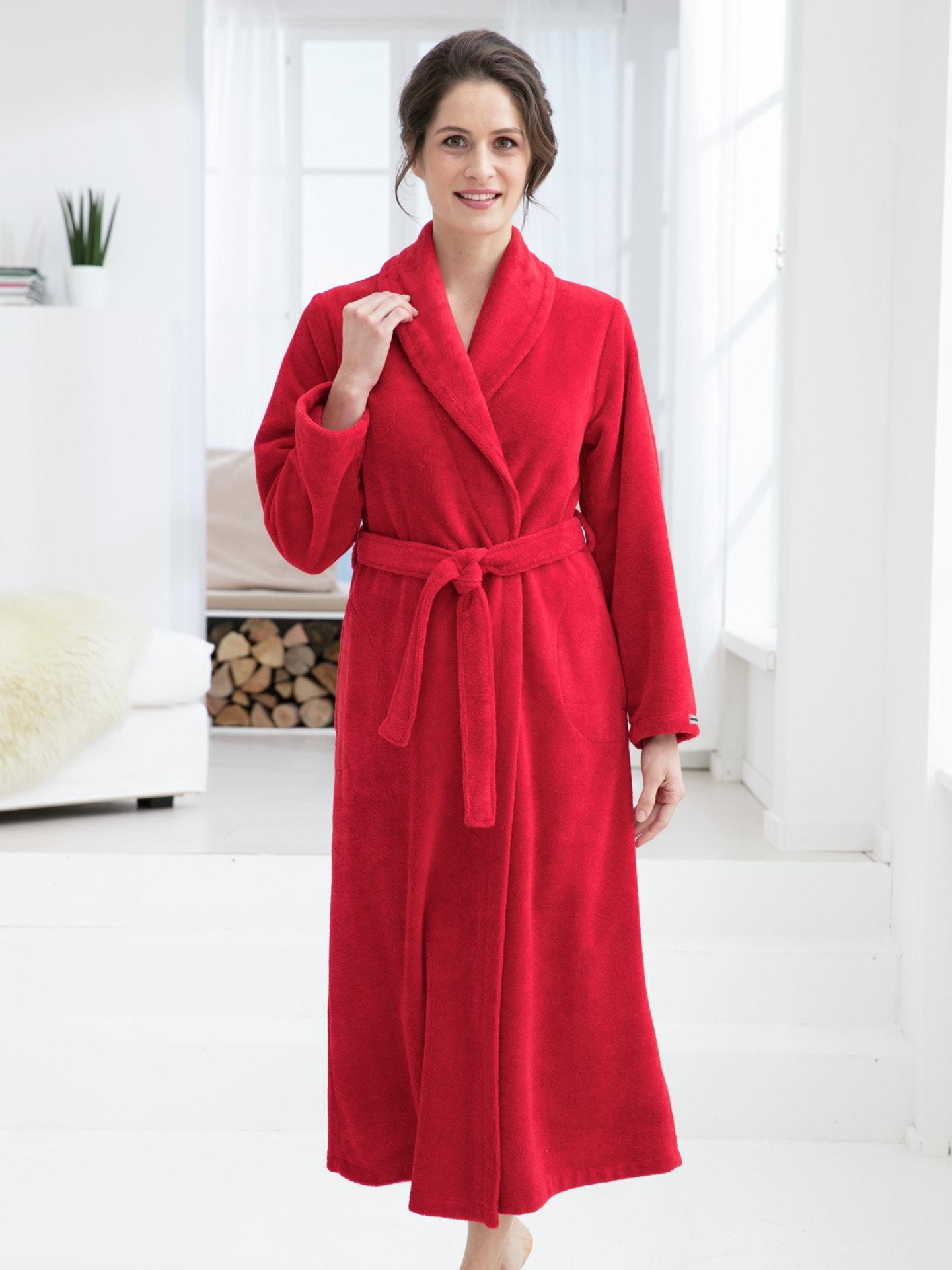 Avena Damen Bademantel Softvelours Rot einfarbig Gr. 42 | Bekleidung > Bademode > Bademäntel | Baumwolle | Avena