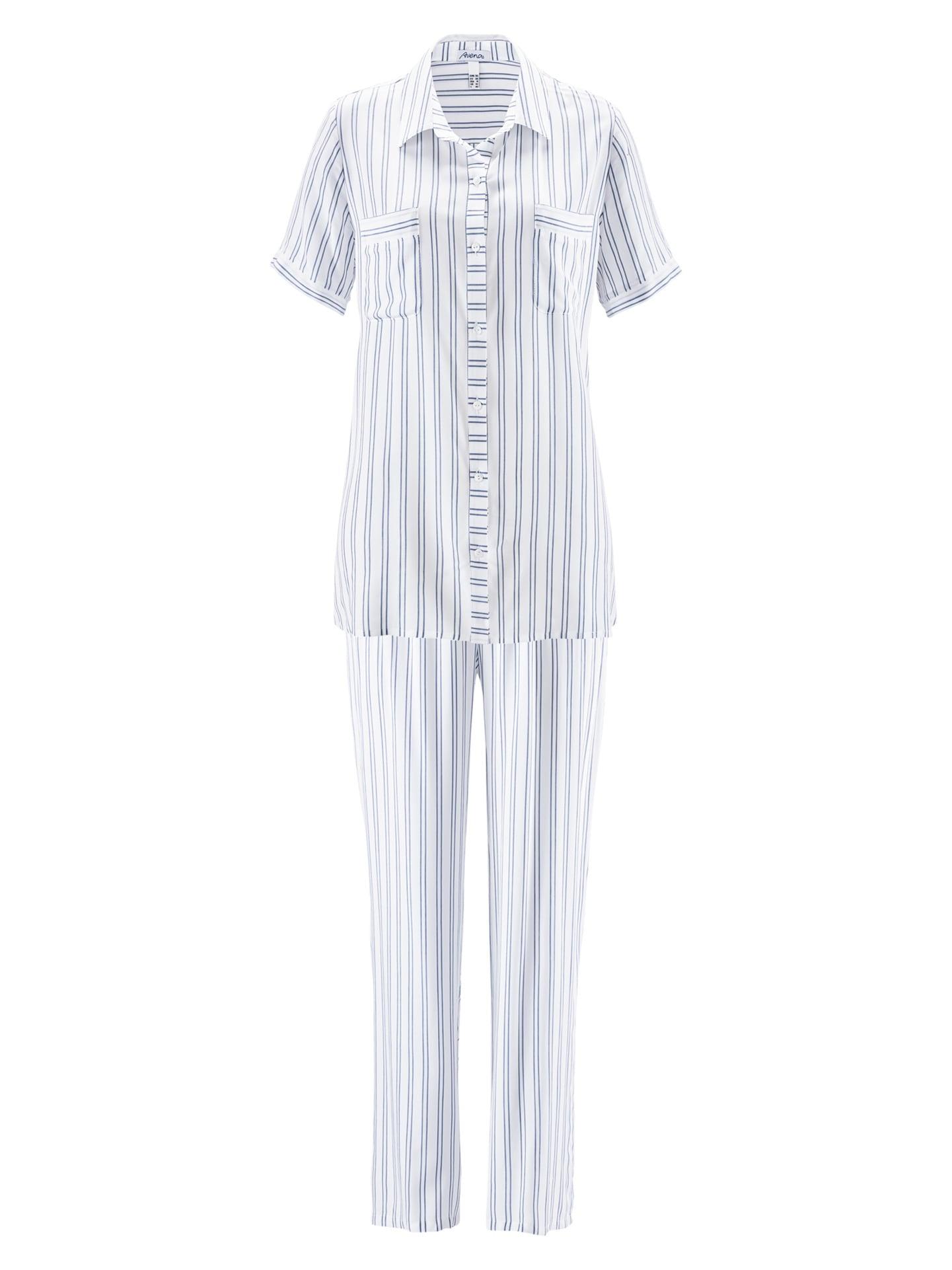 Avena Damen Pyjama Weiß gestreift 42-6132-8_MV8880