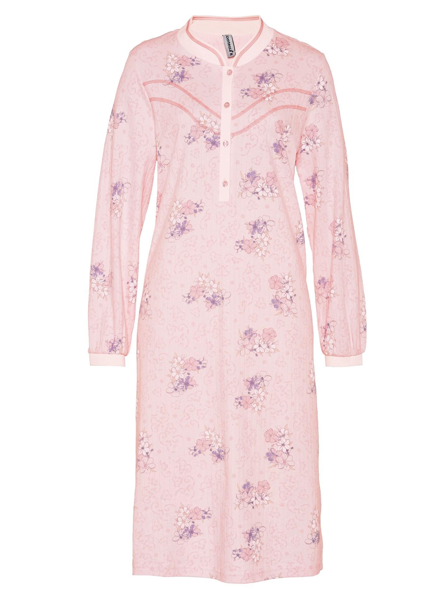 Avena Damen Thermo-Nachthemd Blütendessin Rosé 42-6142-7