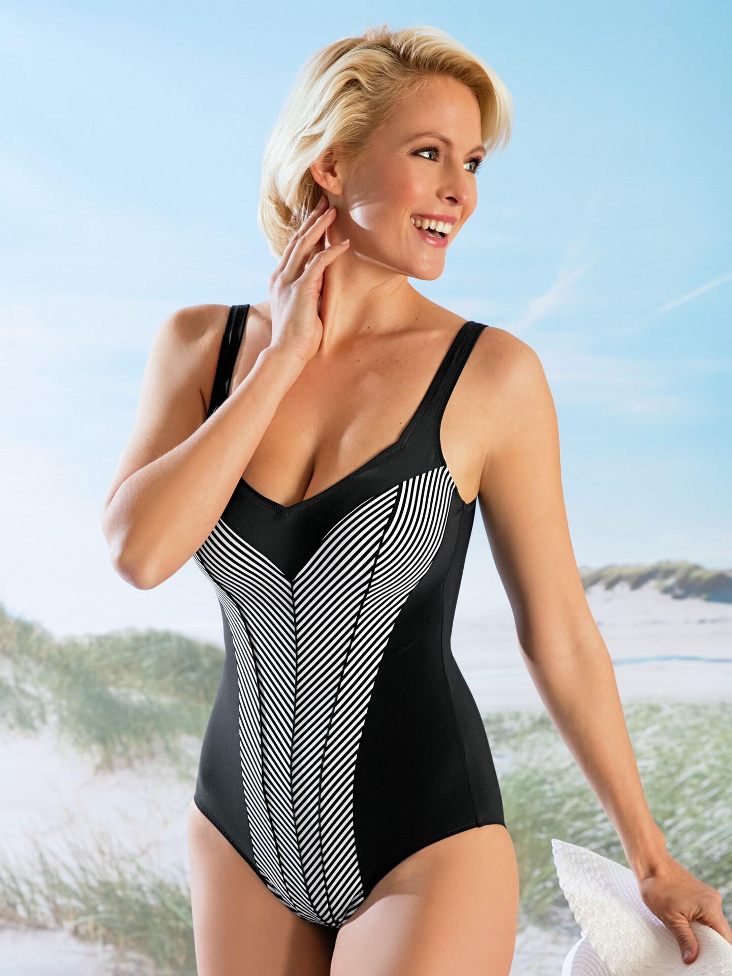 Damen Badeanzug Shape Effect Schwarz Gr. 50