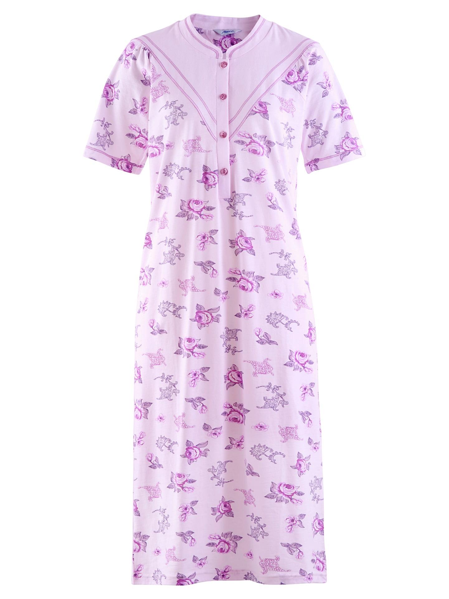 Avena Damen Baumwoll-Nachthemd Blütendessin Rose 42-6359-9