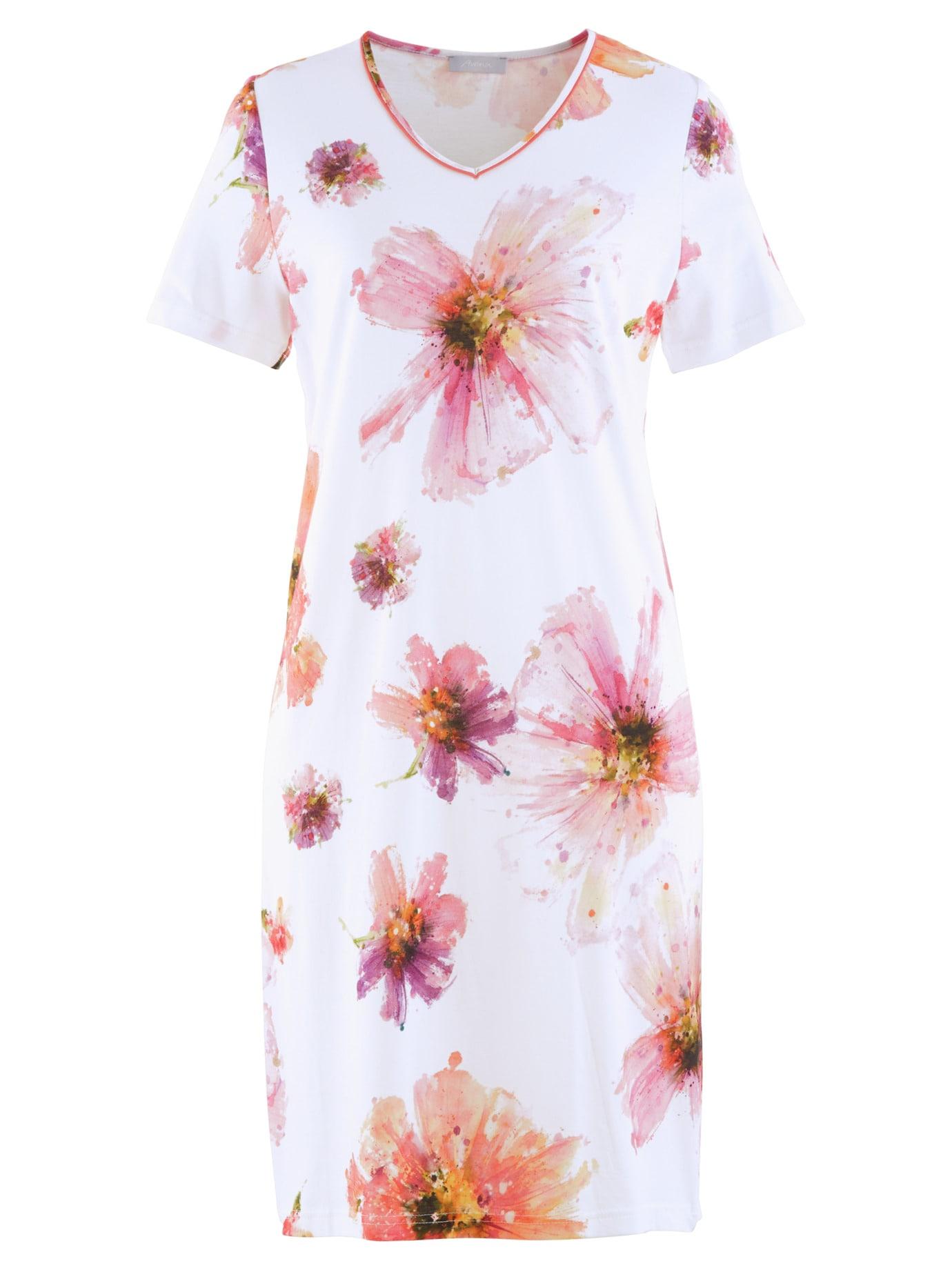 Avena Damen Nachthemd Sommerblüte Weiss 42-6380-3