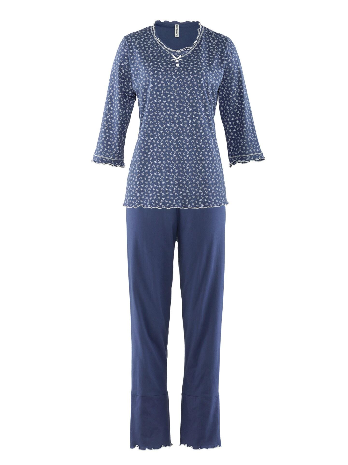 Avena Damen Soft-Schlafanzug Baumwolle Blau 42-6406-0