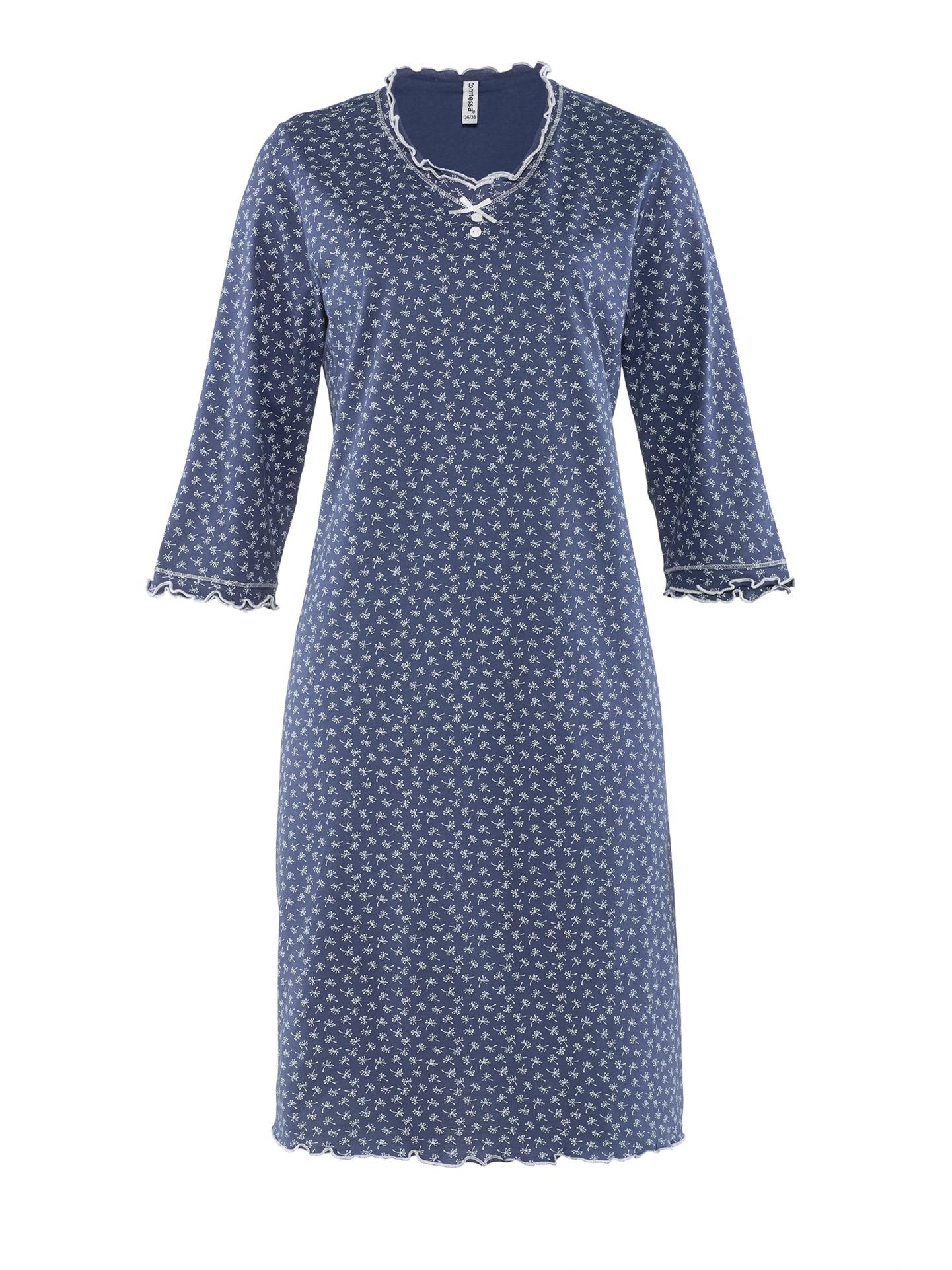 Avena Damen Soft-Nachthemd Baumwolle Blau 42-6407-7