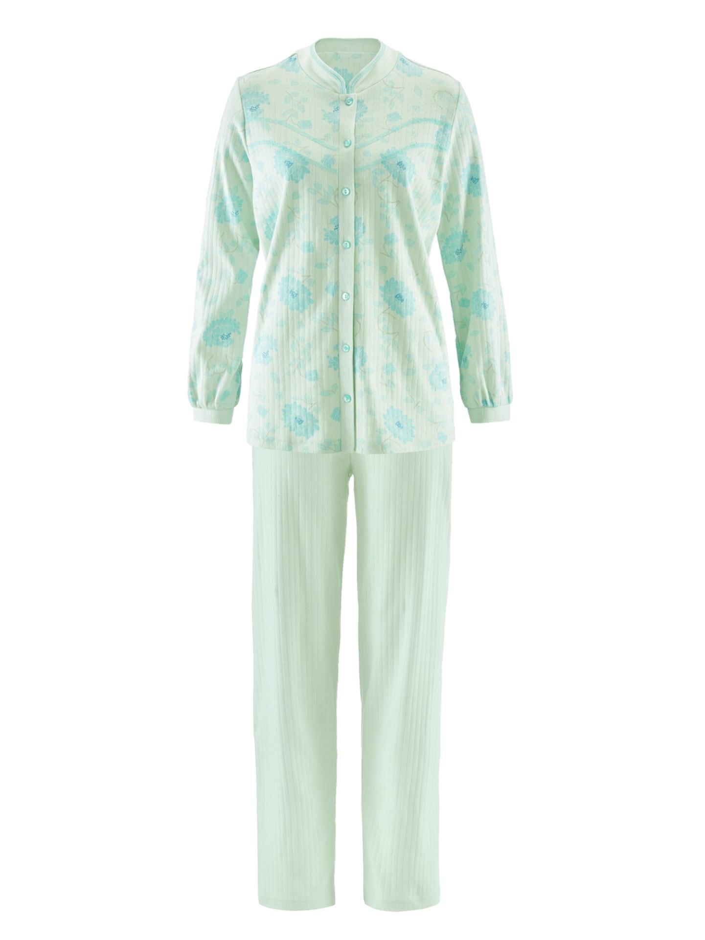Avena Damen Pyjama Grün geblümt 42-6487-9_MV8880