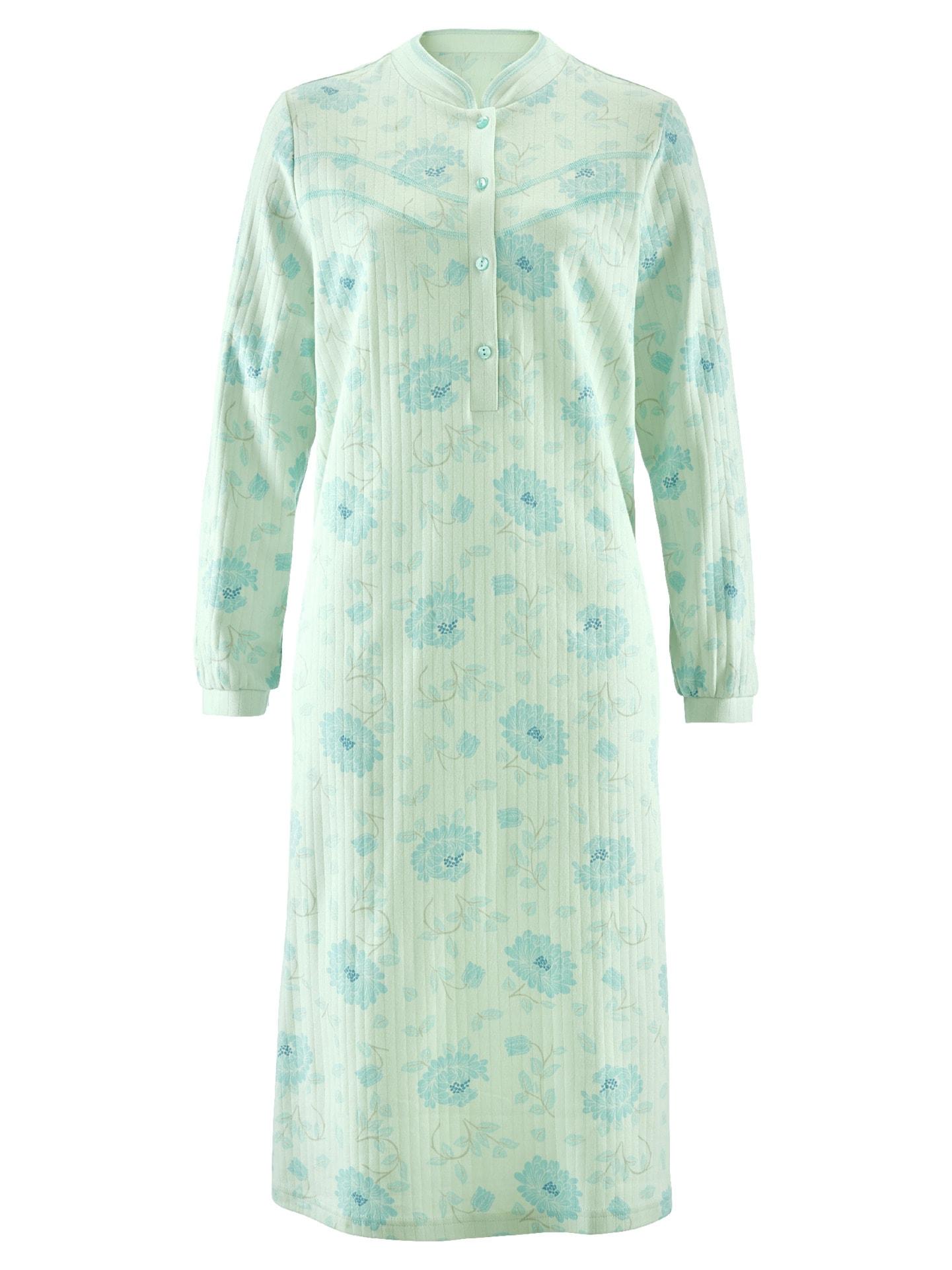 Avena noch offen: Marke Damen Thermo-Nachthemd Blüten-Dessin Grün 42-6488-6