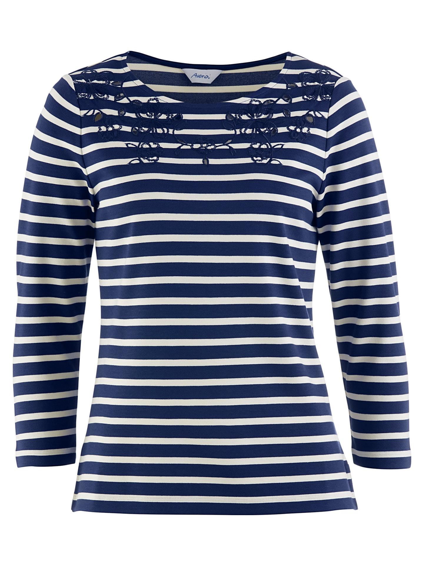 Avena Damen Shirt mit Blumen-Stickerei Blau 43-6701-5