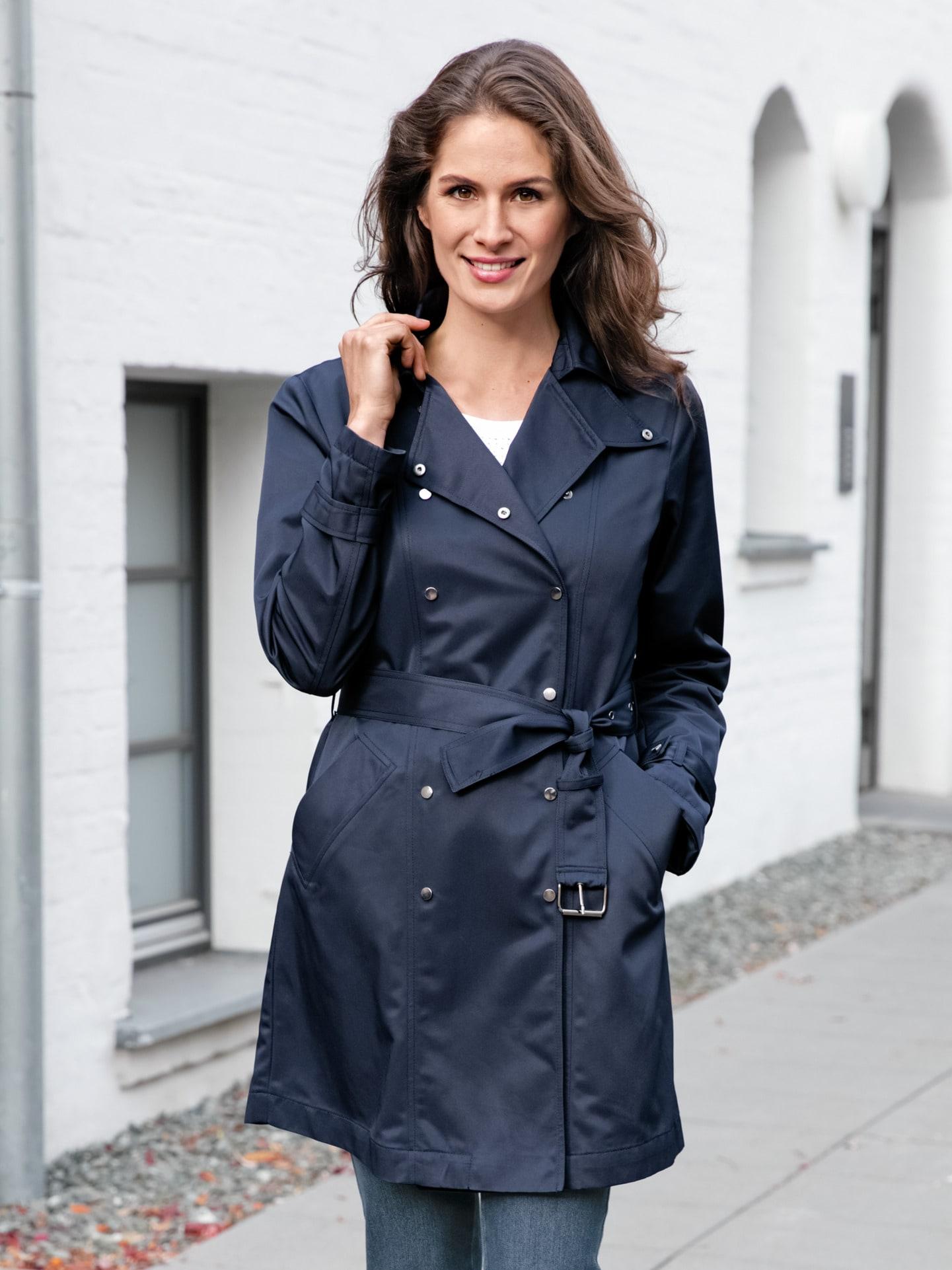 Avena Damen Trenchcoat Wind & Wetter Blau 44-5340-6