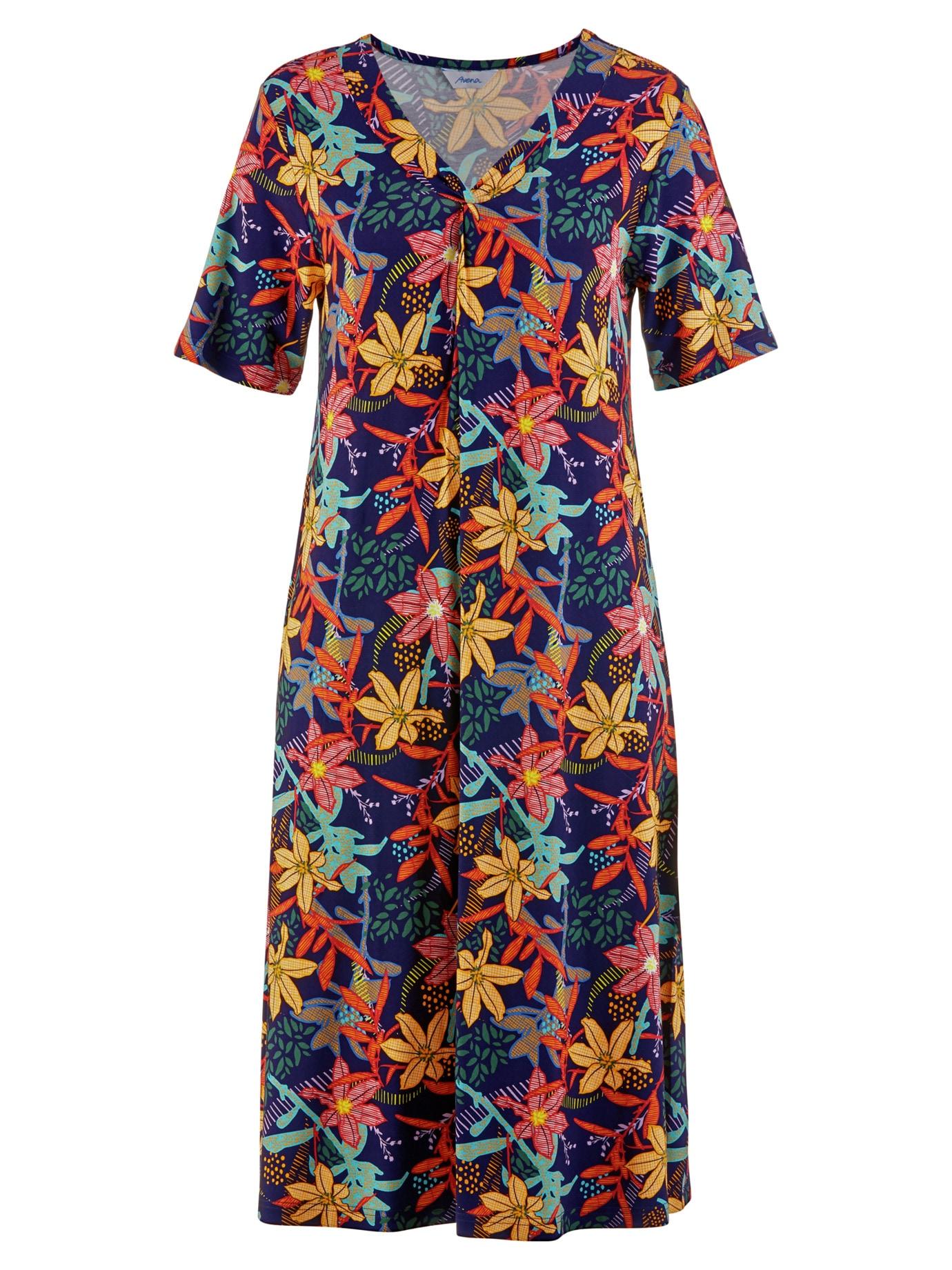 Avena Damen Haus-und Gartenkleid Sommerdruck Blau 44-7560-6