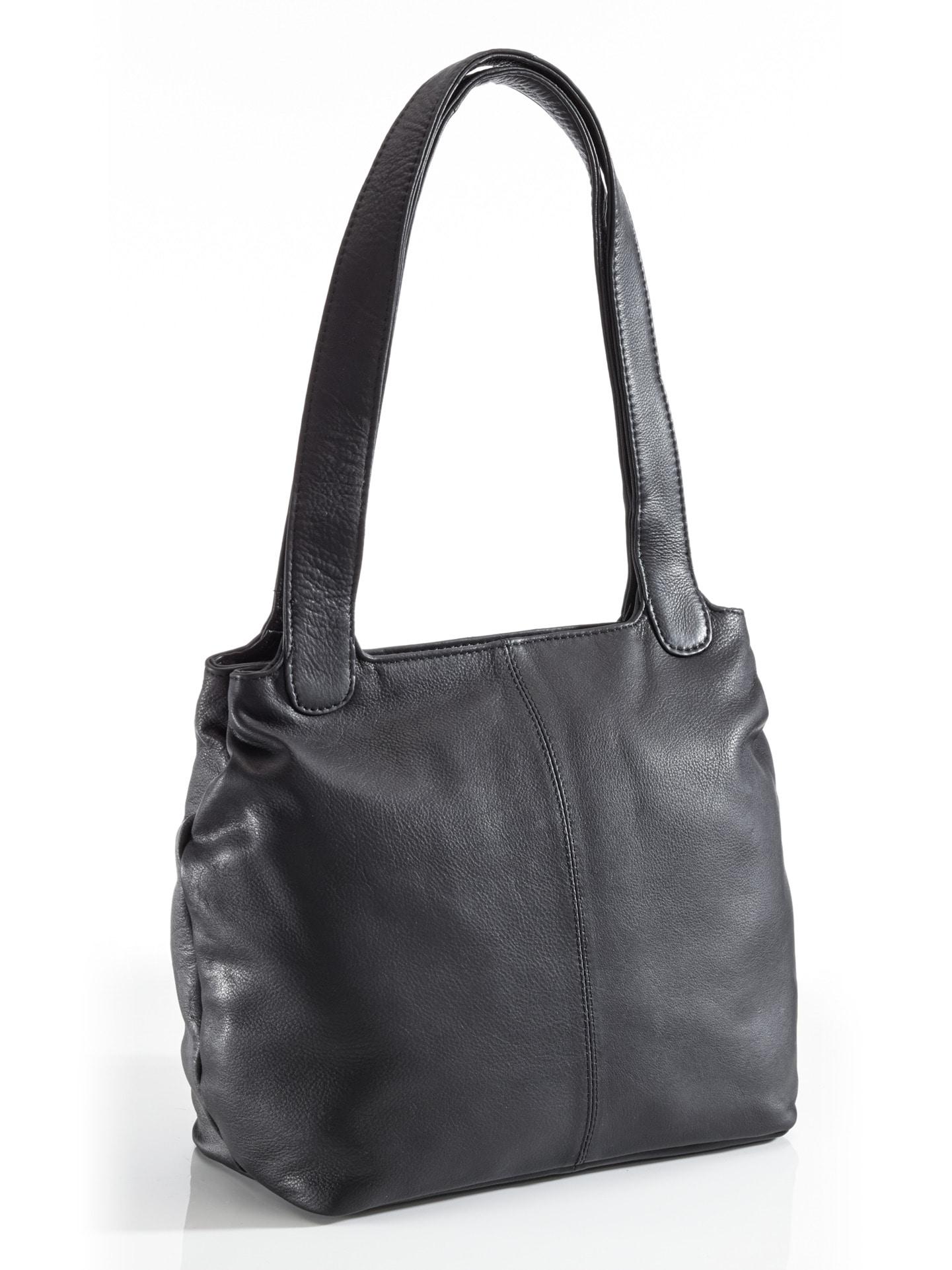 Damen Leder-Shopper Easy going Schwarz