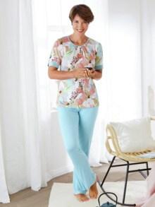 Schlafanzug Pastellblüte Hellblau gebl. Detail 1