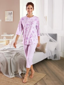 Baumwoll-Schlafanzug Blütendessin Rose geblümt Detail 1