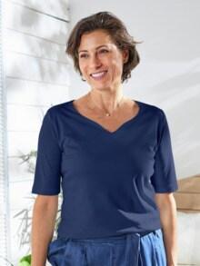 Baumwoll-Shirt Herzausschnitt