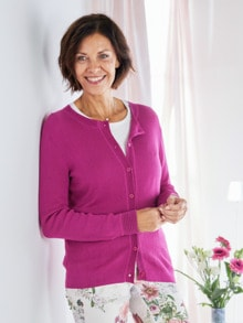 Strickjacke Seidentraum Fuchsia Detail 1