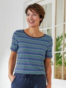 Freizeit-Shirt Streifen Blau Detail 1