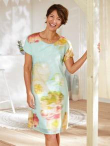 Kleid Blumenaquarell Aqua gemustert Detail 1