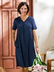 Haus-und Gartenkleid Sommerdruck Blau gepunktet Detail 1