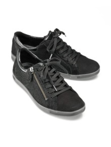 Reißverschluss-Sneaker Shiny low Schwarz Detail 1