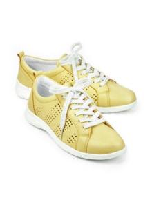 Leder-Leicht-Sneaker Vanillegelb Detail 1