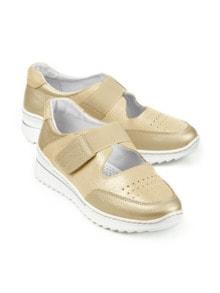 Bequem-Klett-Sneaker Wohlfühlweite Beige Detail 1