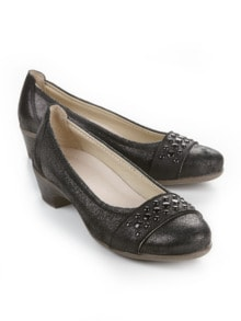 Soft-Pumps Trittsicher Schwarz Detail 1