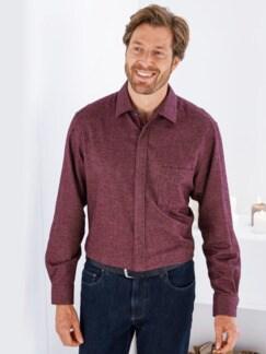 Flannell-Hemd Reissverschluss Bordeaux Detail 1