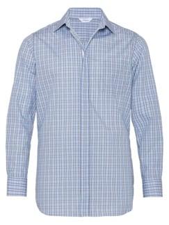 Extraglatt-Hemd Reißverschluss Blau kariert Detail 2