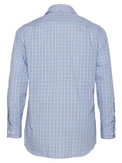 Extraglatt-Hemd Reißverschluss Blau kariert Detail 3