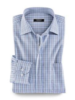 Extraglatt-Hemd Reißverschluss Blau kariert Detail 4