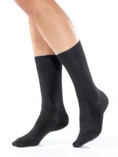Baumwoll-Naturseide-Socken Schwarz Detail 1