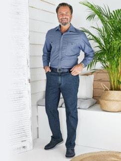 Baumwoll-Jeans Highstretch Mittelblau Detail 2