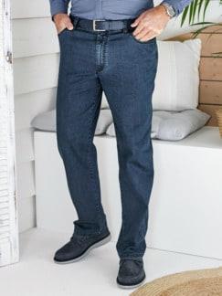 Baumwoll-Jeans Highstretch Mittelblau Detail 1