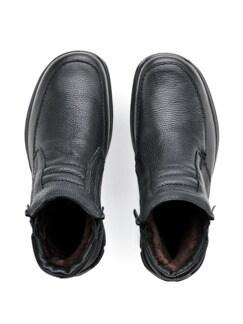 Lammfell-Reißverschluss-Stiefel Schwarz Detail 3