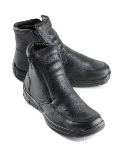 Lammfell-Reißverschluss-Stiefel Schwarz Detail 1