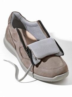 Doppel-Reißverschluss-Sneaker Grau Detail 3