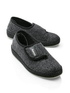 Herren-Wollfilz-Klettslipper Anthrazit Detail 1