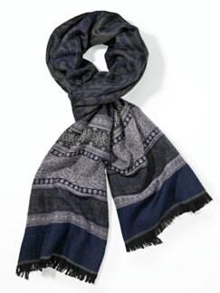 Jacquard-Schal Ornament-Streifen Grau/Blau Detail 1