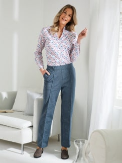 Damen Jersey-Haushose Jeansblau Detail 2