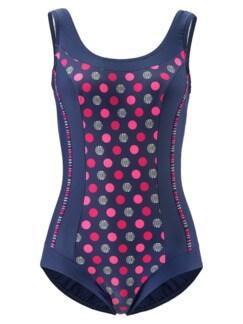 Softschalen-Badeanzug Dot-Dessin Blau Detail 3