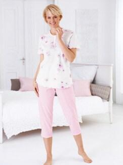 Schlafanzug Rosenblüten Weiß/Rosé Detail 1
