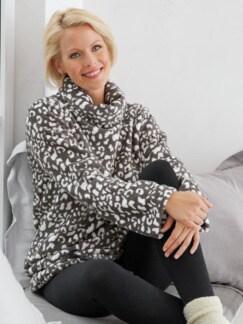Kuschel-Loungewear Pullover Grau/Weiß Detail 1